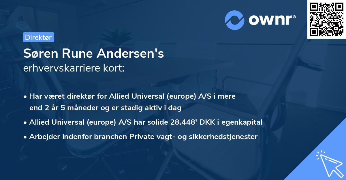 Søren Rune Andersen's erhvervskarriere kort
