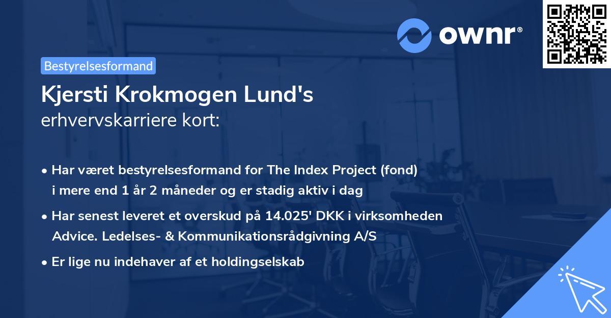 Kjersti Krokmogen Lund's erhvervskarriere kort