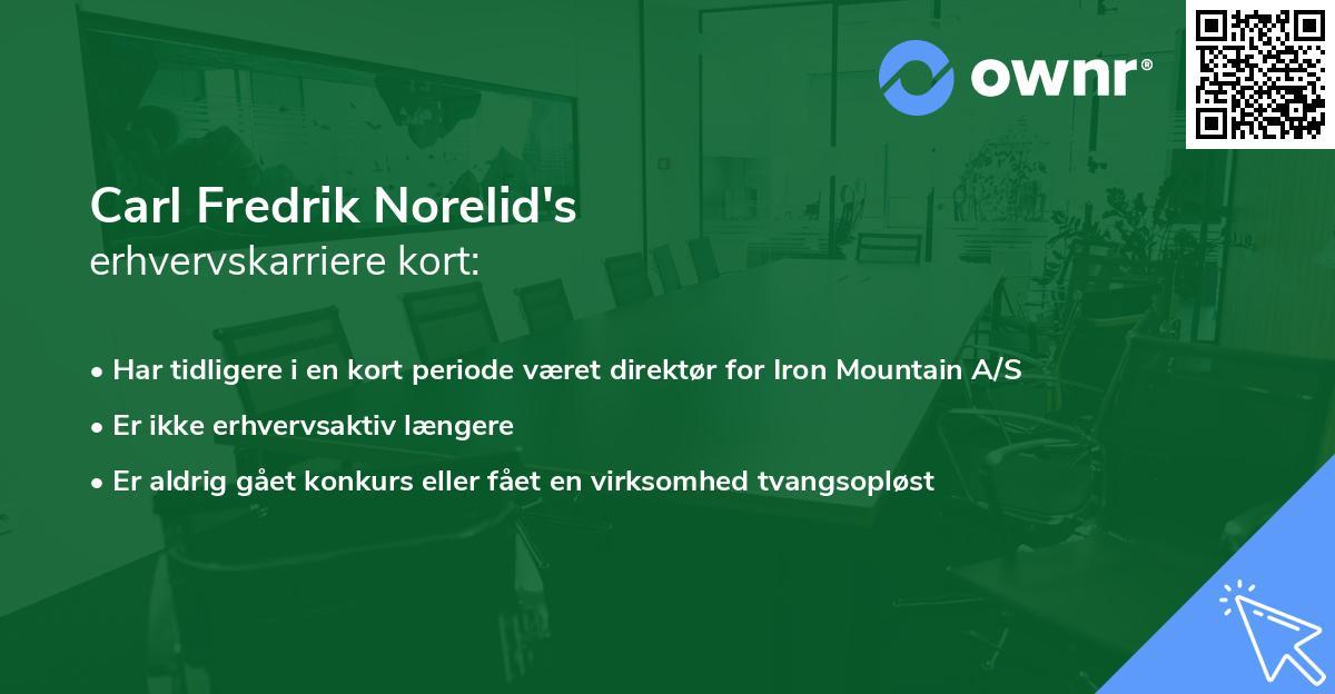 Carl Fredrik Norelid's erhvervskarriere kort