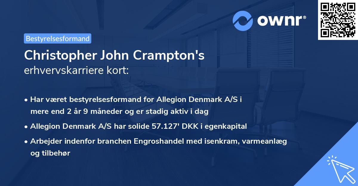 Christopher John Crampton's erhvervskarriere kort