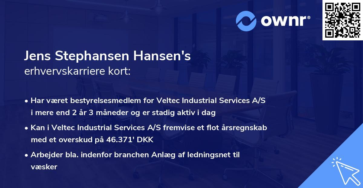 Jens Stephansen Hansen's erhvervskarriere kort