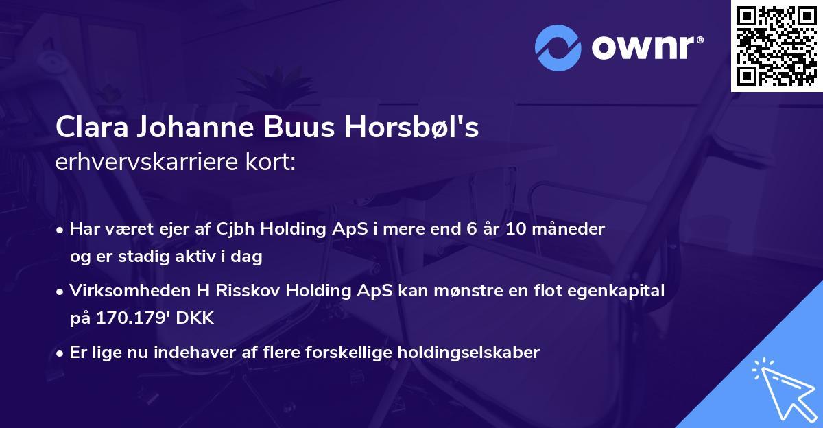 Clara Johanne Buus Horsbøl's erhvervskarriere kort