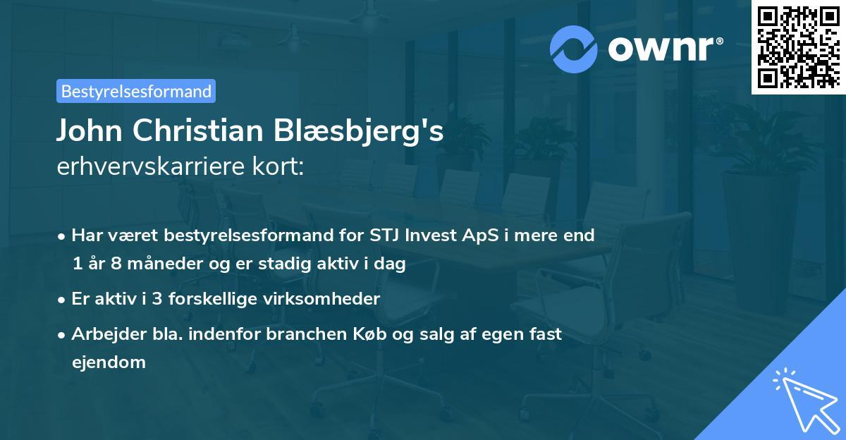John Christian Blæsbjerg's erhvervskarriere kort