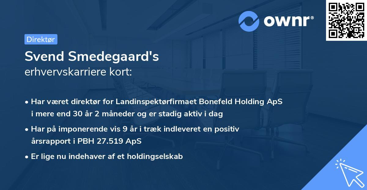 Svend Smedegaard's erhvervskarriere kort