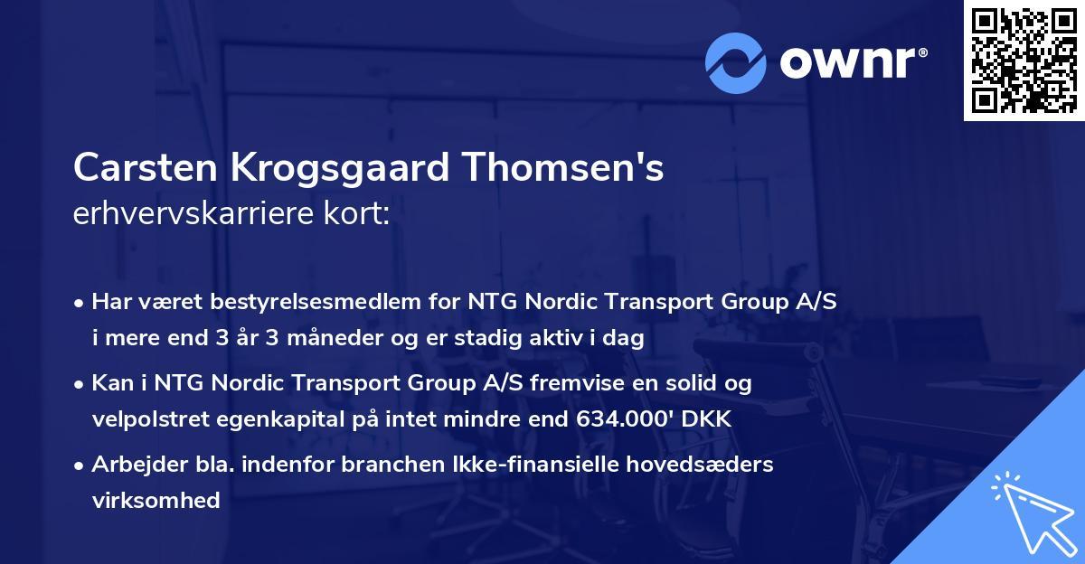 Carsten Krogsgaard Thomsen's erhvervskarriere kort