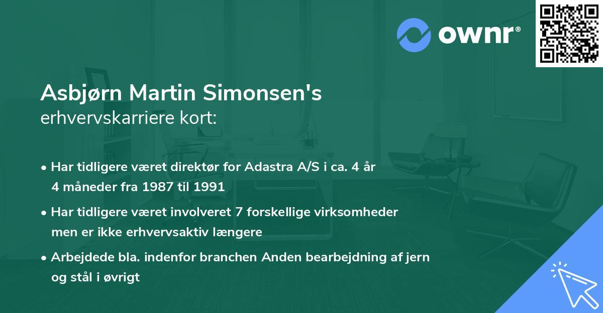 Asbjørn Martin Simonsen's erhvervskarriere kort