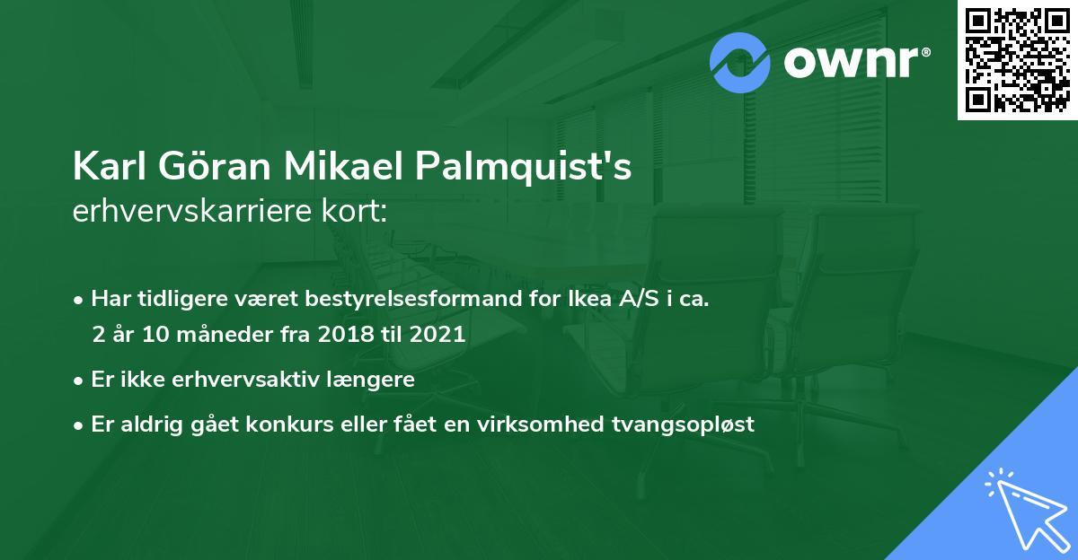 Karl Göran Mikael Palmquist's erhvervskarriere kort