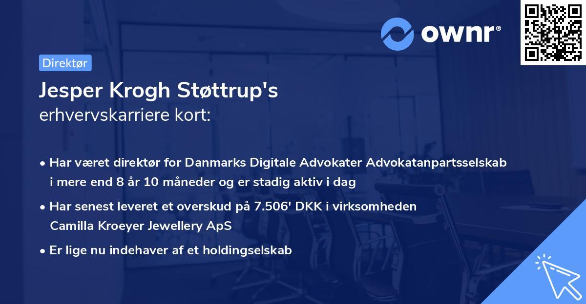 Jesper Krogh Støttrup's erhvervskarriere kort