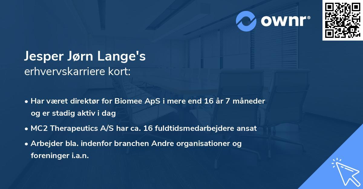 Jesper Jørn Lange's erhvervskarriere kort