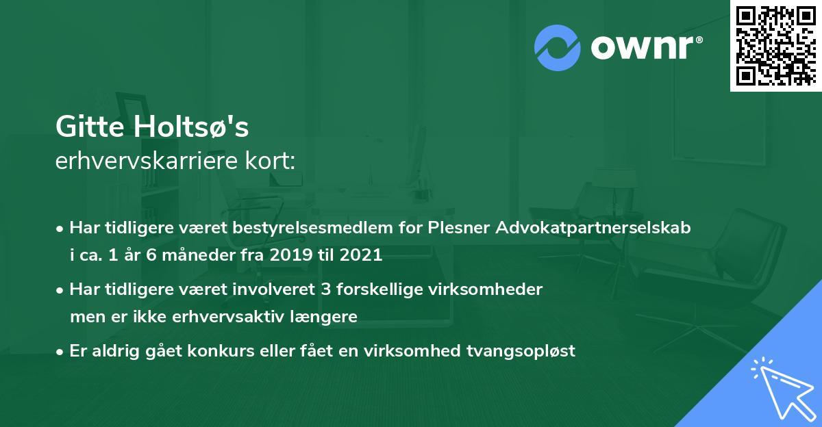 Gitte Holtsø's erhvervskarriere kort