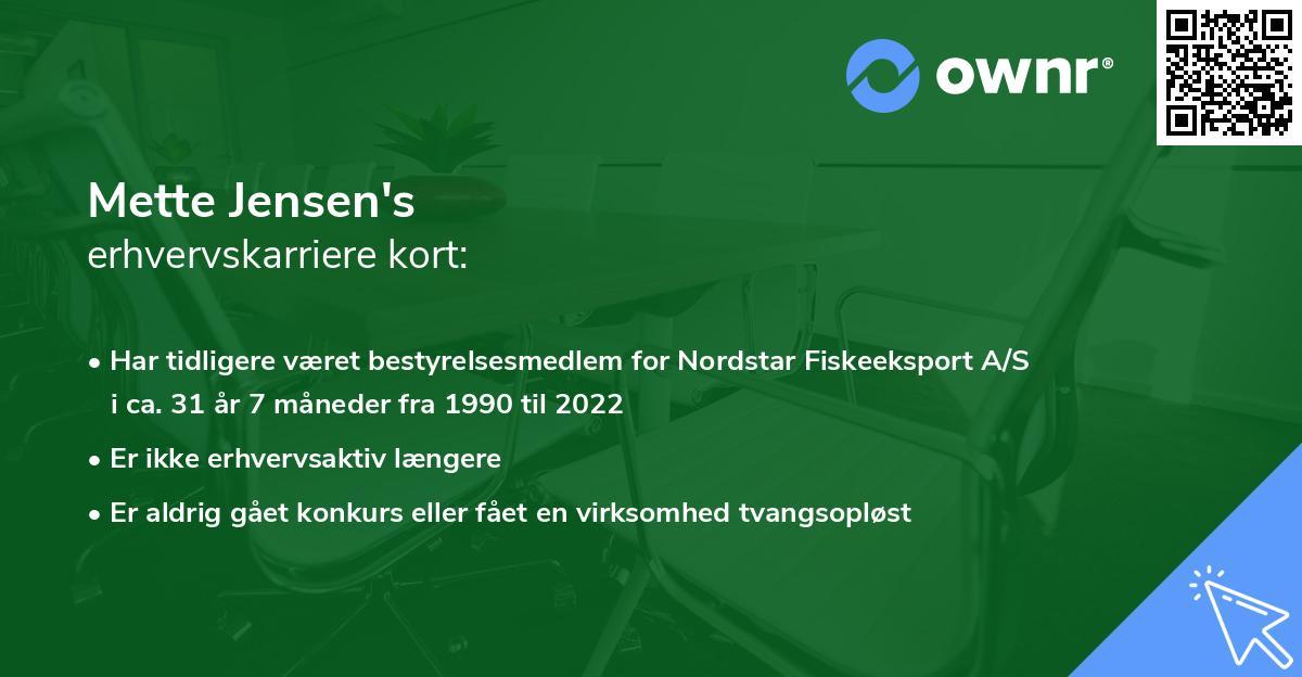 Mette Jensen's erhvervskarriere kort