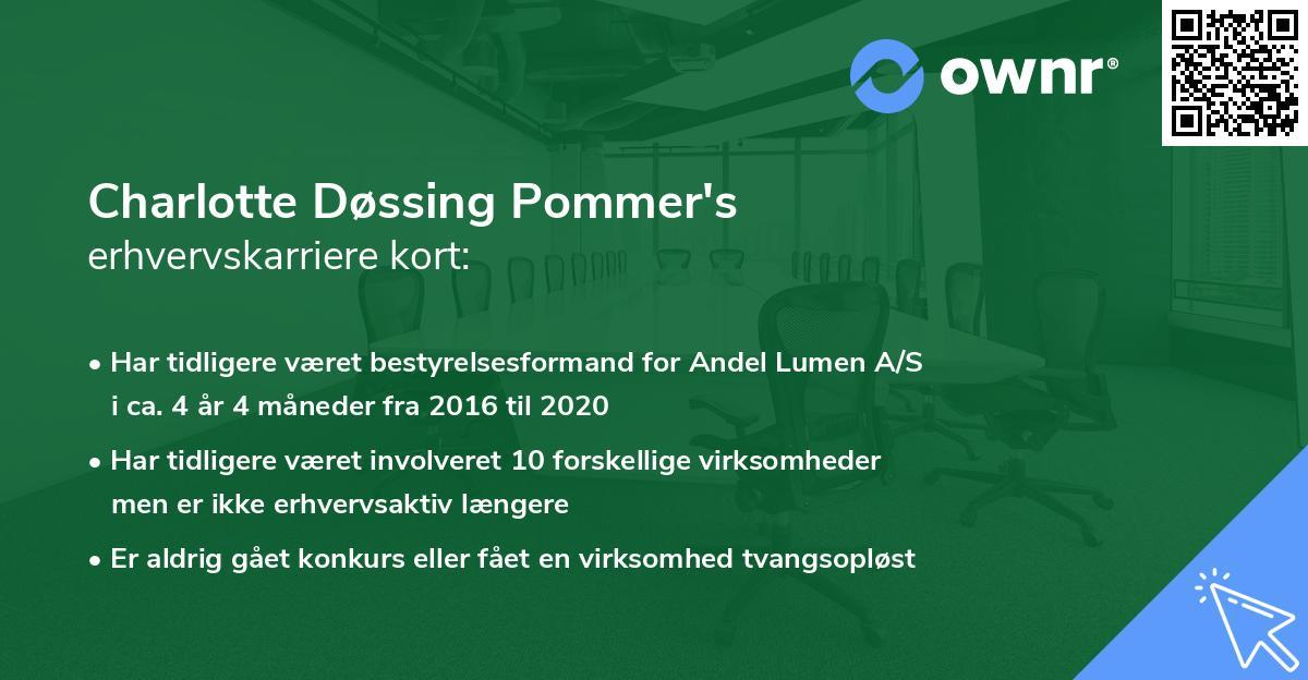 Charlotte Døssing Pommer's erhvervskarriere kort