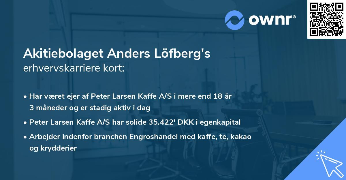 Akitiebolaget Anders Löfberg's erhvervskarriere kort