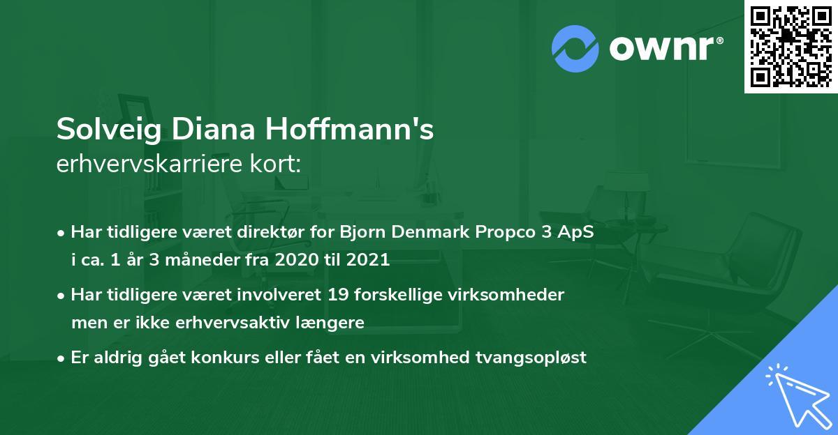 Solveig Diana Hoffmann's erhvervskarriere kort