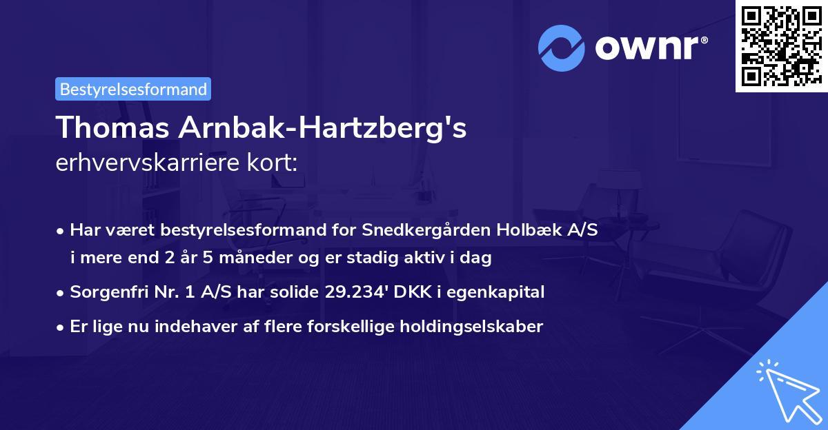 Thomas Arnbak-Hartzberg's erhvervskarriere kort