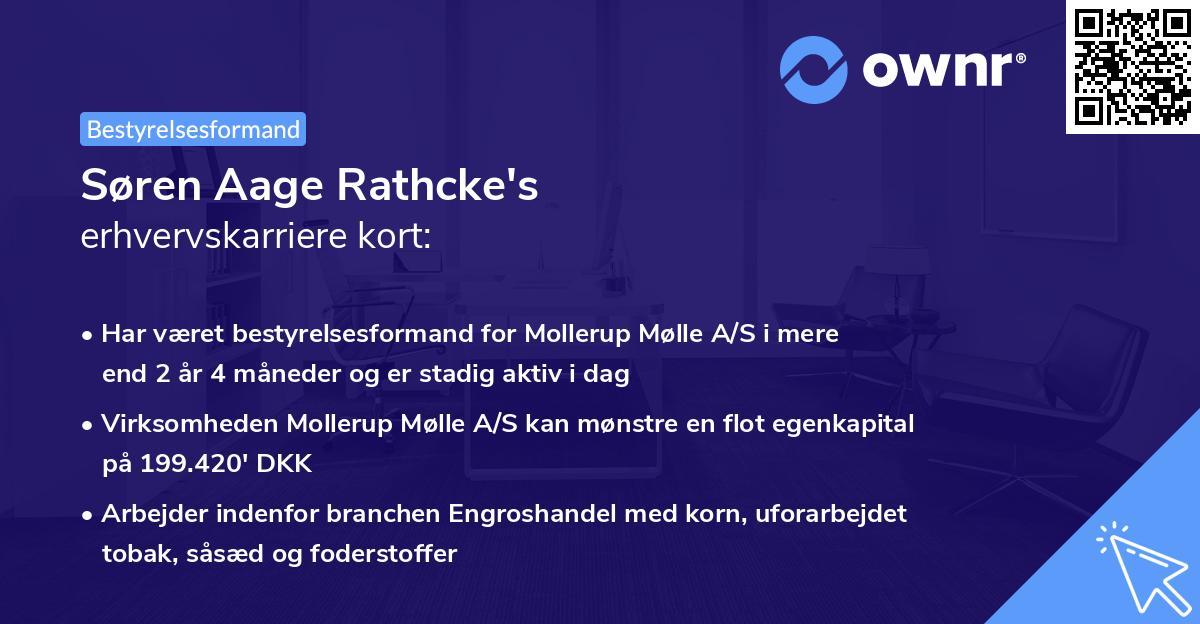 Søren Aage Rathcke's erhvervskarriere kort