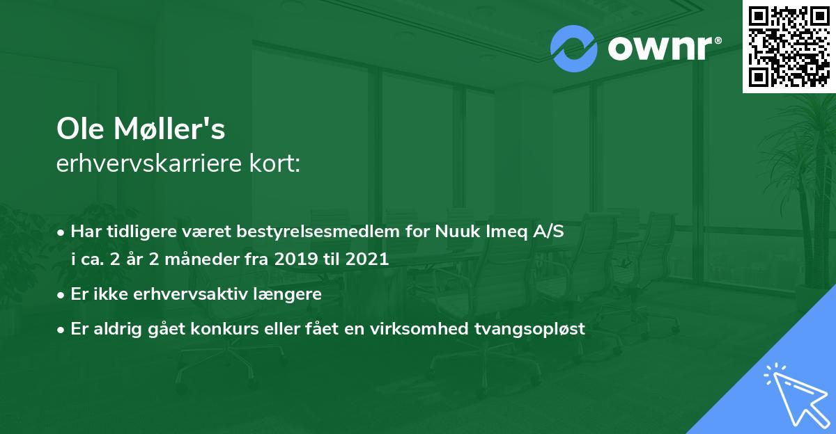 Ole Møller's erhvervskarriere kort