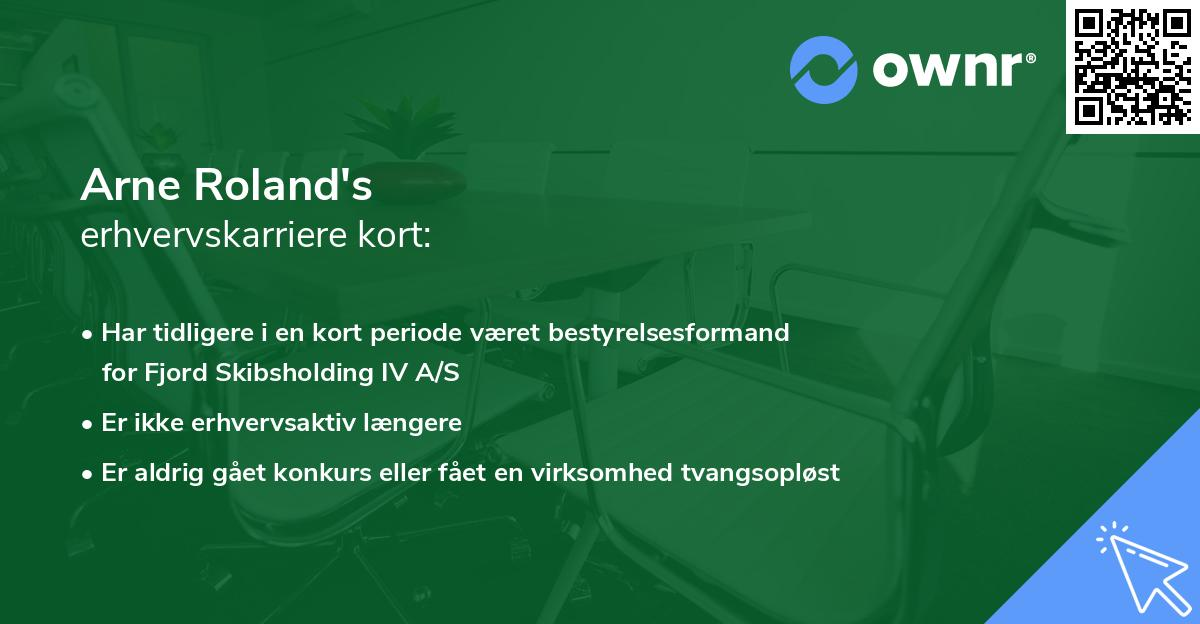 Arne Roland's erhvervskarriere kort