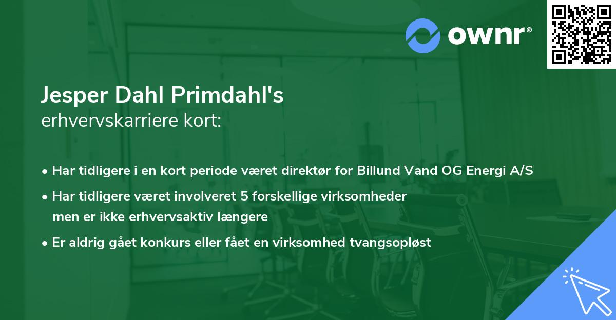 Jesper Dahl Primdahl's erhvervskarriere kort