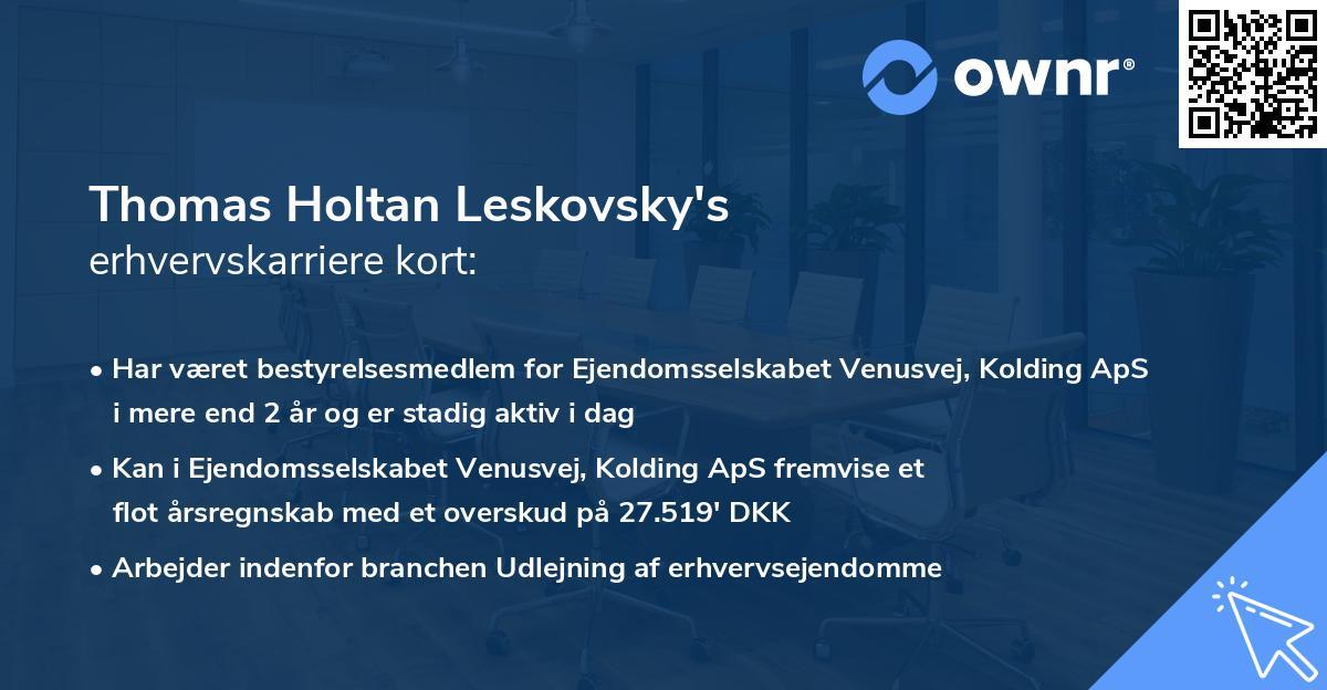 Thomas Holtan Leskovsky's erhvervskarriere kort