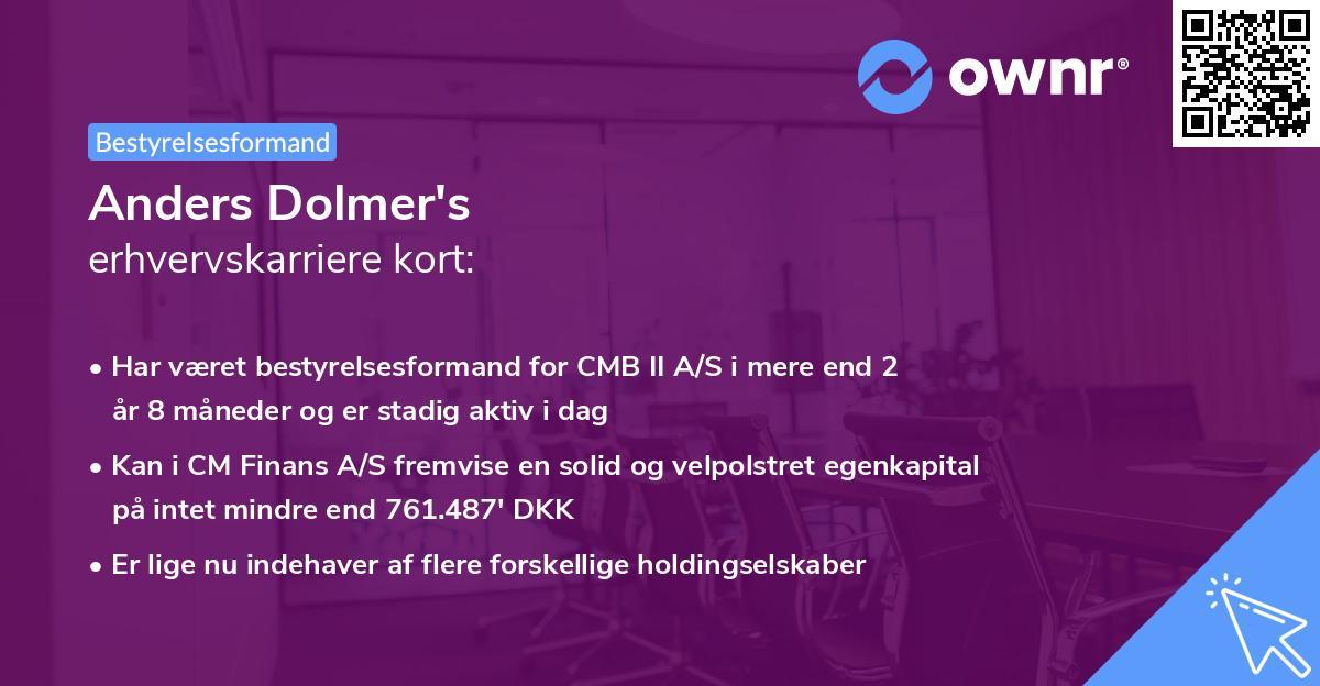 Anders Dolmer's erhvervskarriere kort