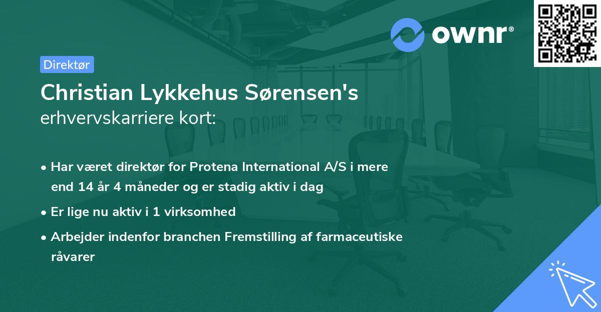 Christian Lykkehus Sørensen's erhvervskarriere kort