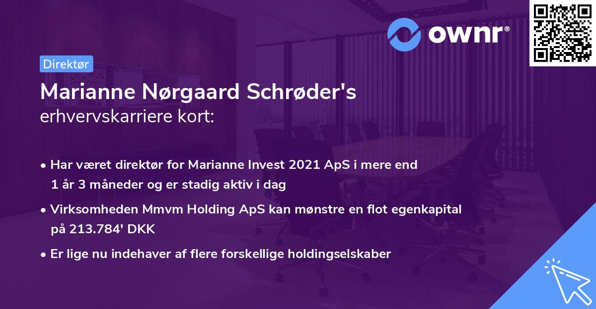 Marianne Nørgaard Schrøder's erhvervskarriere kort