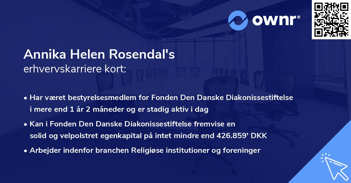 Annika Helen Rosendal's erhvervskarriere kort