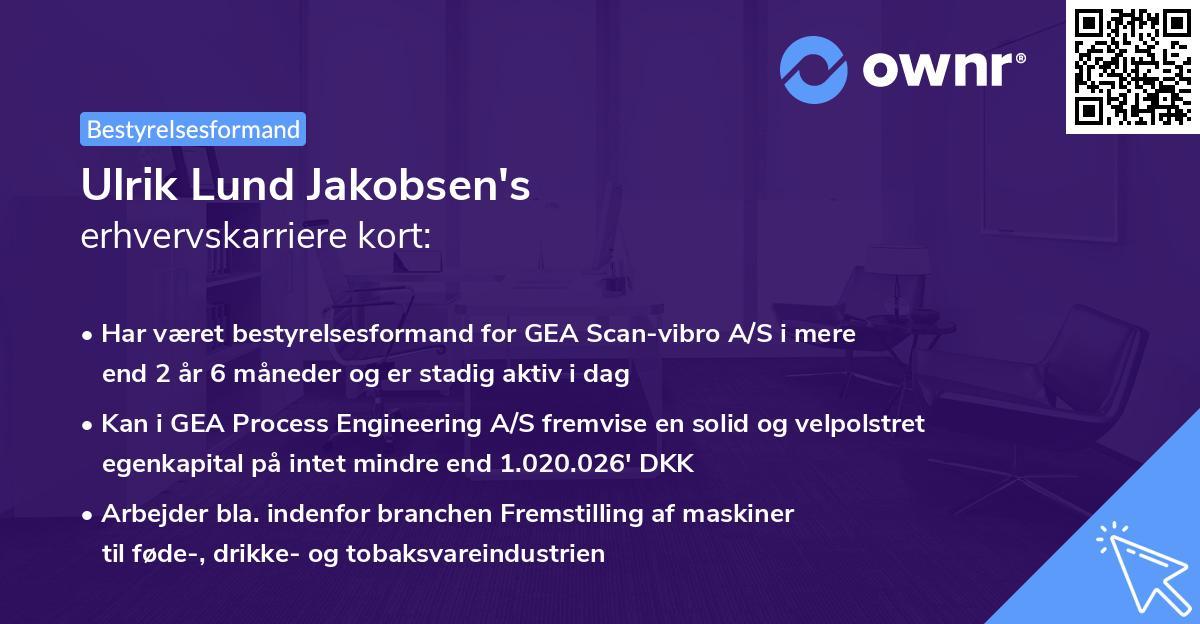 Ulrik Lund Jakobsen's erhvervskarriere kort