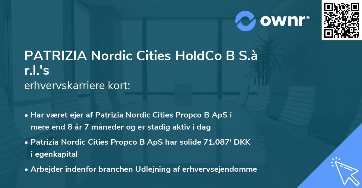 PATRIZIA Nordic Cities HoldCo B S.à r.l.'s erhvervskarriere kort