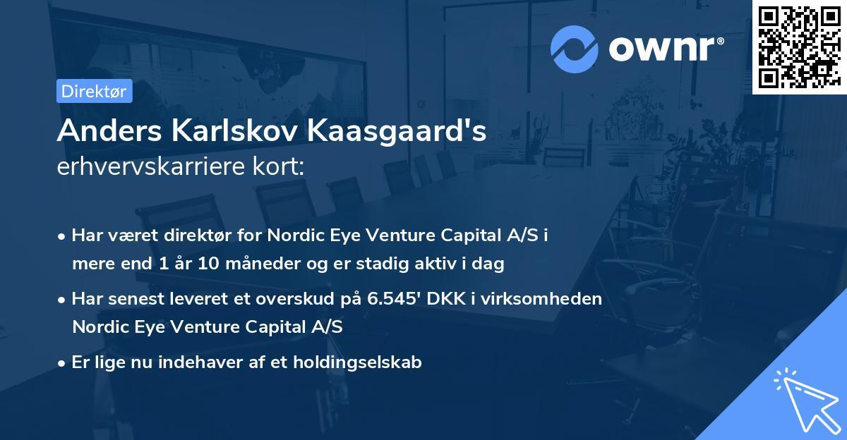 Anders Karlskov Kaasgaard's erhvervskarriere kort