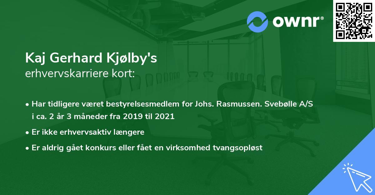 Kaj Gerhard Kjølby's erhvervskarriere kort