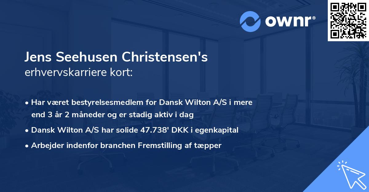 Jens Seehusen Christensen's erhvervskarriere kort