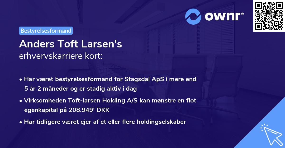 Anders Toft Larsen's erhvervskarriere kort