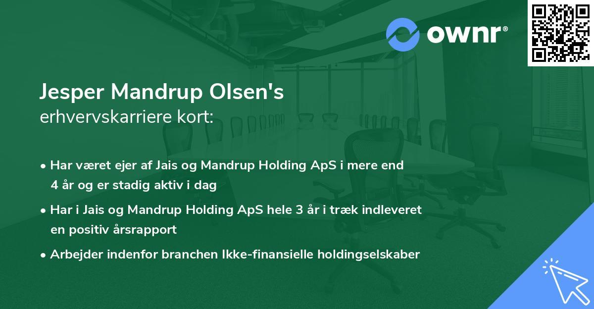 Jesper Mandrup Olsen's erhvervskarriere kort