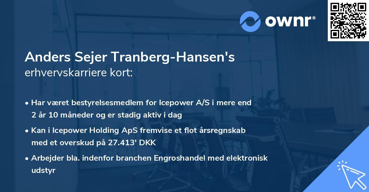 Anders Sejer Tranberg-Hansen's erhvervskarriere kort