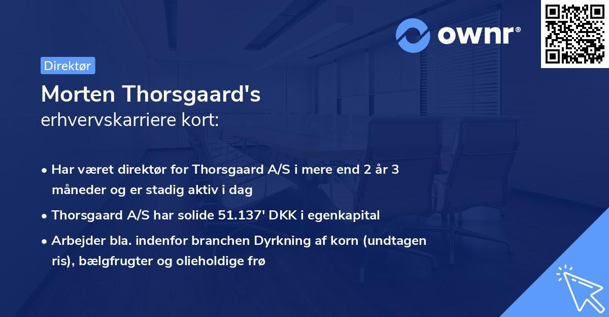 Morten Thorsgaard's erhvervskarriere kort