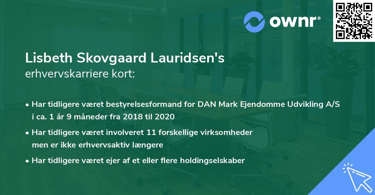 Lisbeth Skovgaard Lauridsen's erhvervskarriere kort