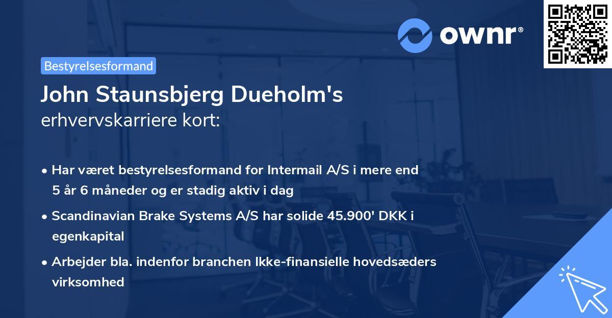 John Staunsbjerg Dueholm's erhvervskarriere kort