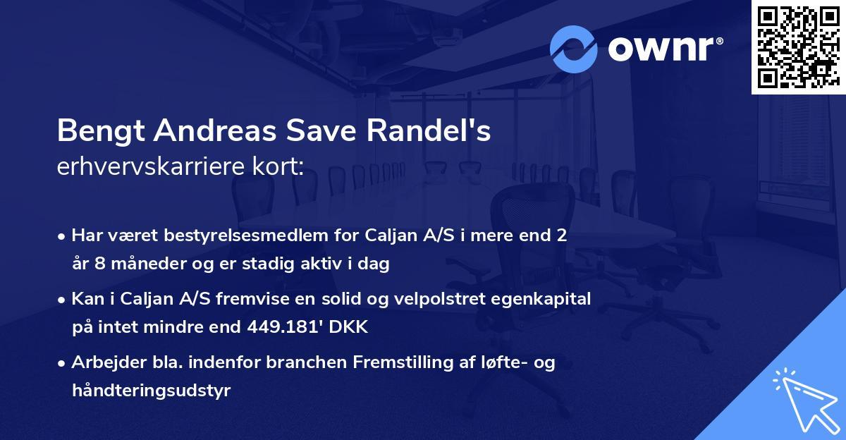 Bengt Andreas Save Randel's erhvervskarriere kort