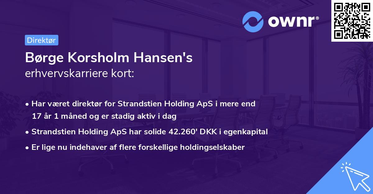 Børge Korsholm Hansen's erhvervskarriere kort