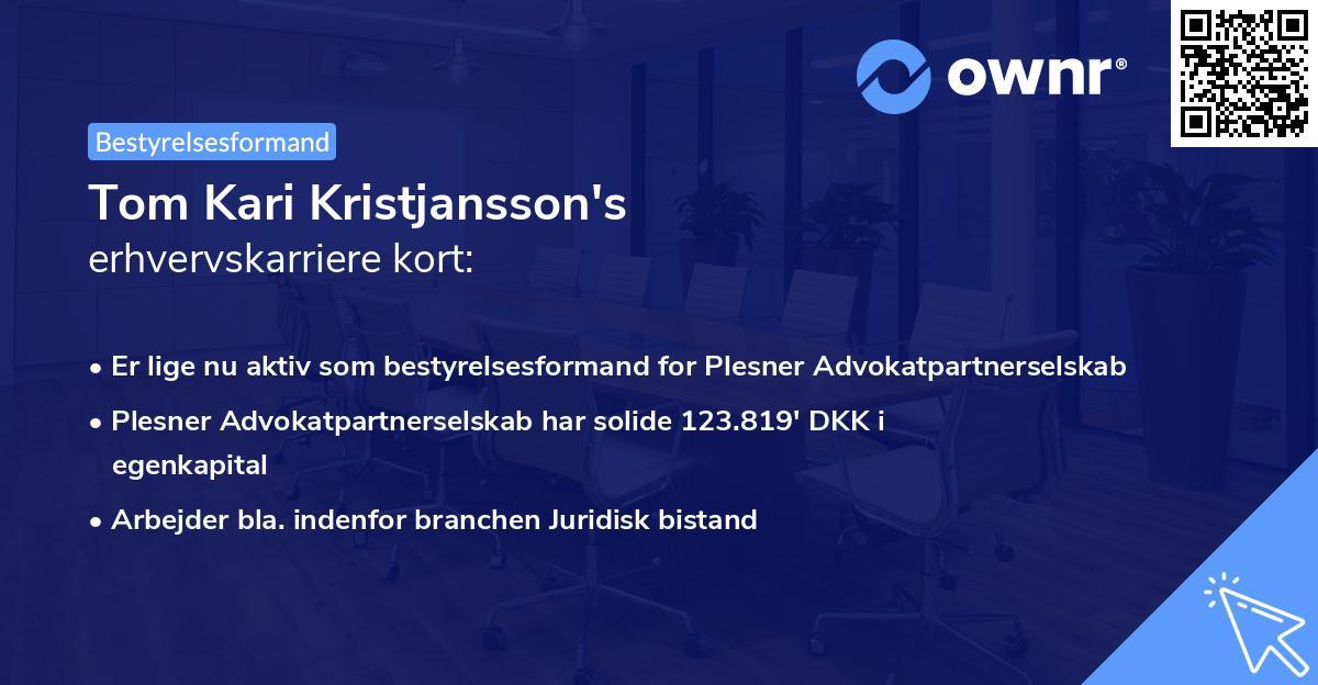 Tom Kari Kristjansson's erhvervskarriere kort