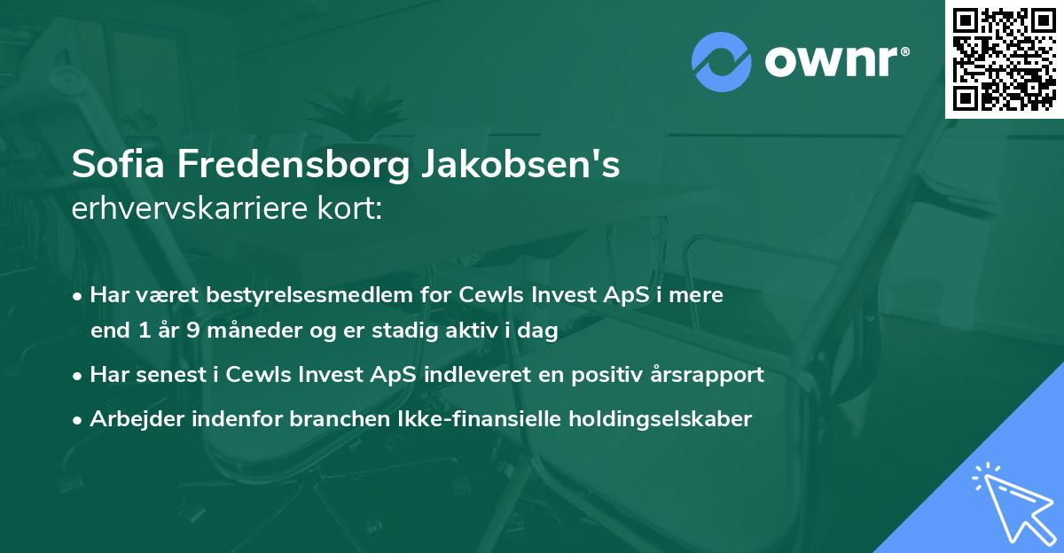 Sofia Fredensborg Jakobsen's erhvervskarriere kort