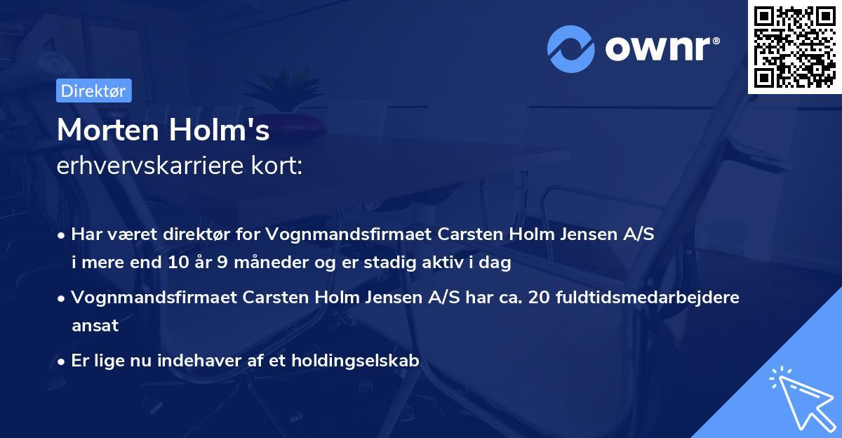 Morten Holm's erhvervskarriere kort