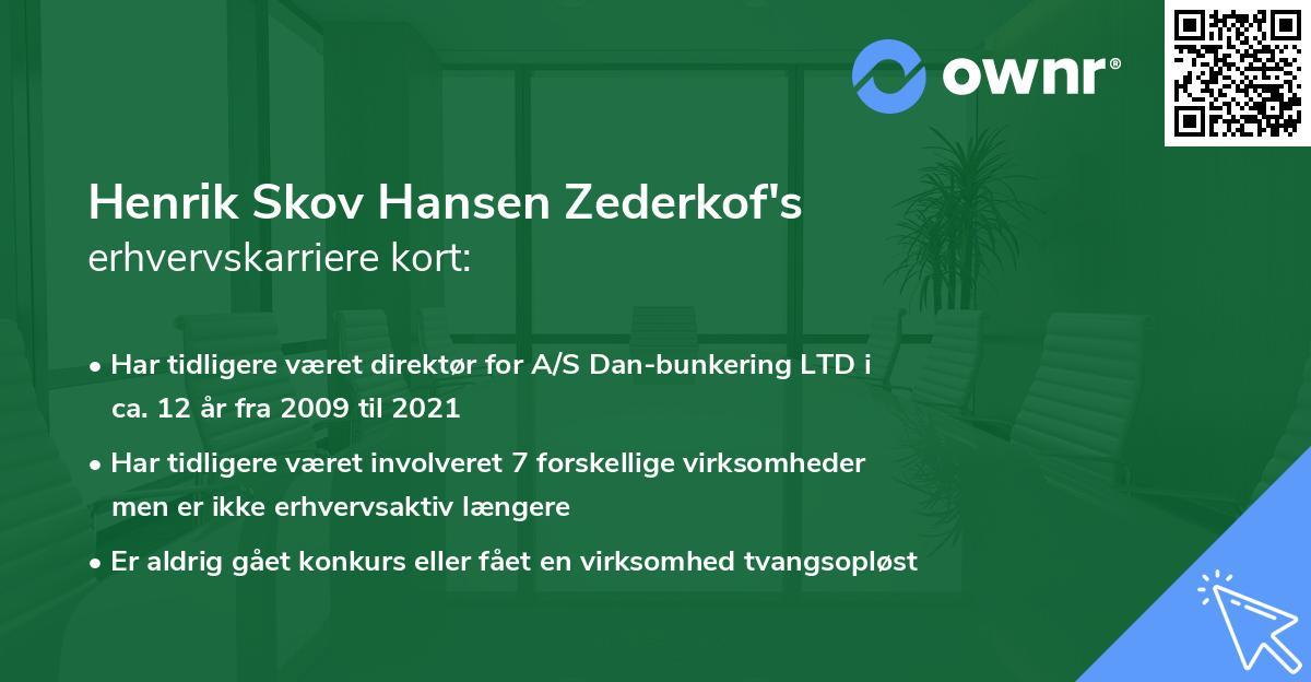 Henrik Skov Hansen Zederkof's erhvervskarriere kort