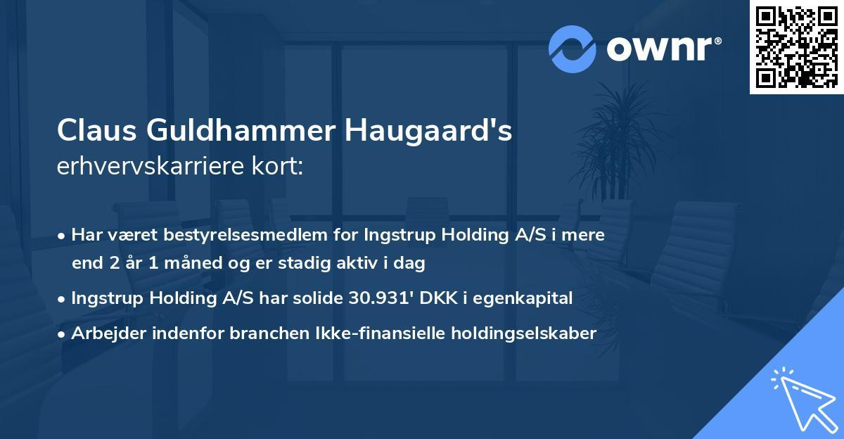 Claus Guldhammer Haugaard's erhvervskarriere kort