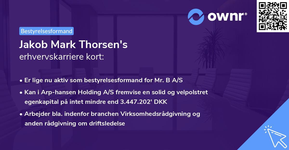 Jakob Mark Thorsen's erhvervskarriere kort