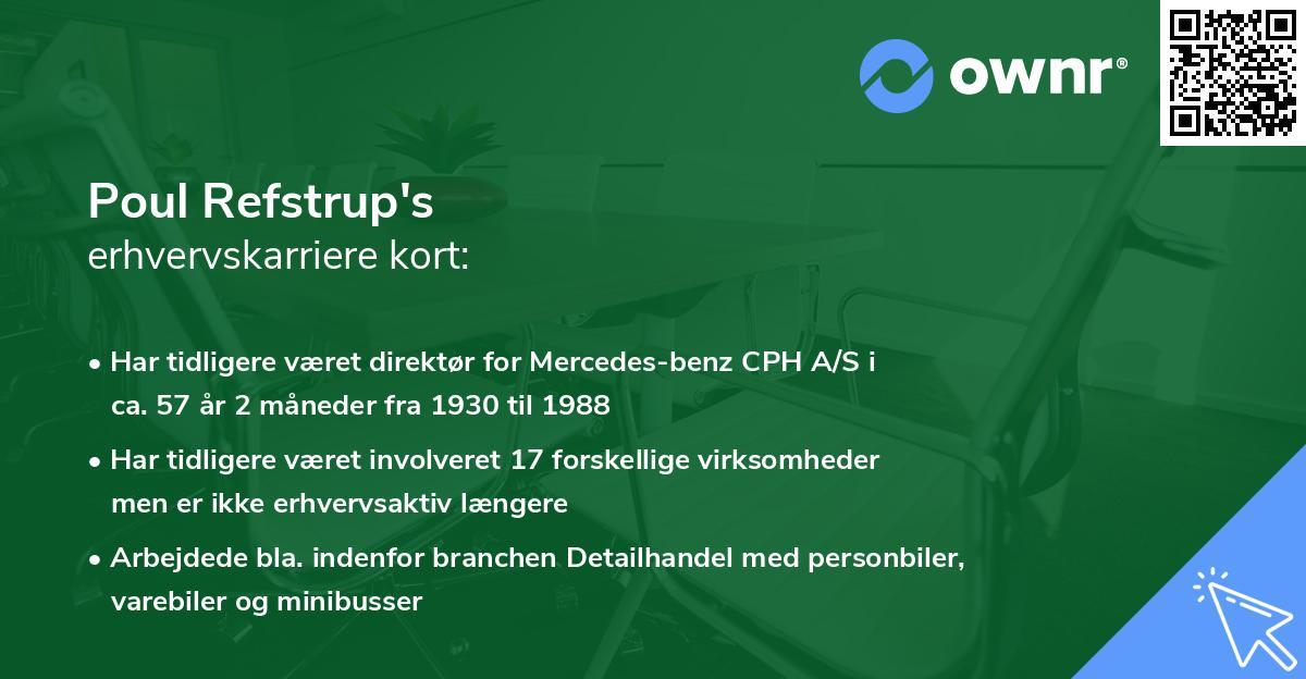 Poul Refstrup's erhvervskarriere kort