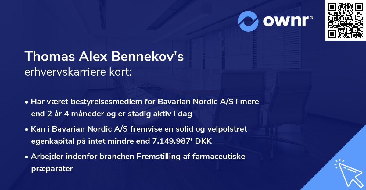 Thomas Alex Bennekov's erhvervskarriere kort