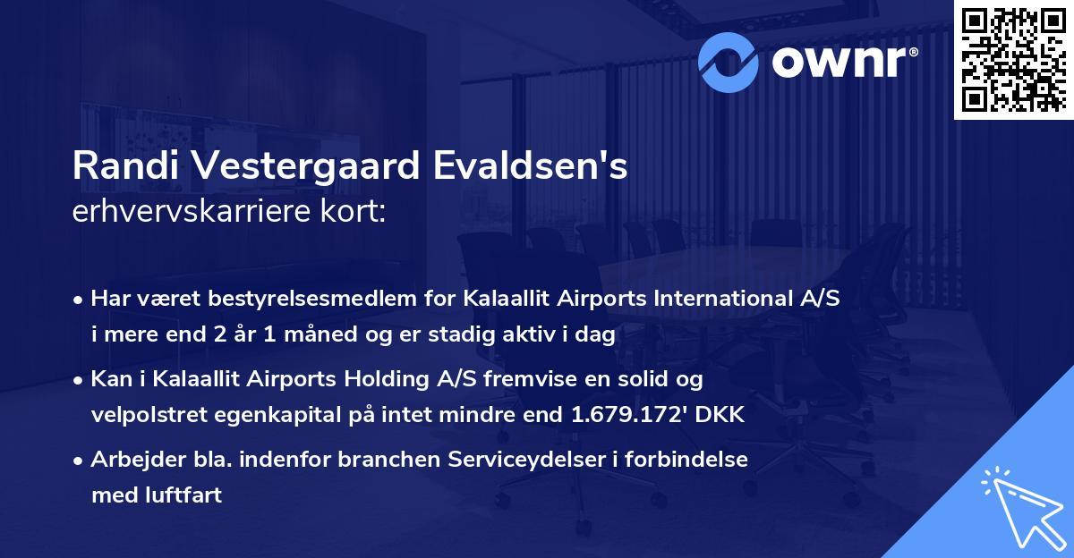 Randi Vestergaard Evaldsen's erhvervskarriere kort